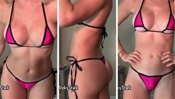 Vicky Stark Youtuber Hot Pink Micro Bikinis Try Video