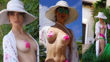 Amanda Cerny Nude Pink Flamingo Nipple Pasties Leaked