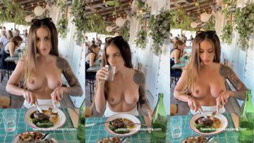 Vanessa Sierra Nude Boobs Showing in Public Restaurant Video Leaked